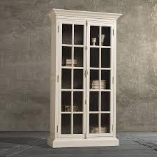 white glass door bookcase interior