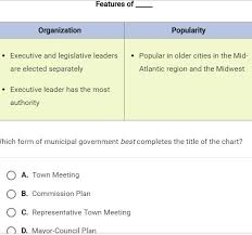 Which Form Of Municipal Government Best Completes The Title