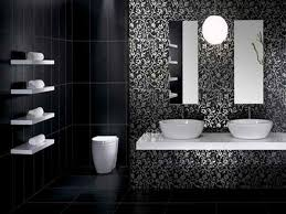 bathroom: Cool White Black Black Bathroom Ideas Applied For Modern Bathroom  Which Is Equipped With