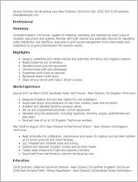 Resume Templates: Irrigation Technician