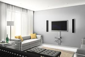 contemporary living room decorating with wall mount tv