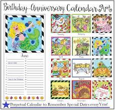 Birthday Anniversary Calendar Beccas Perpetual Birthday Anniversary Calendar