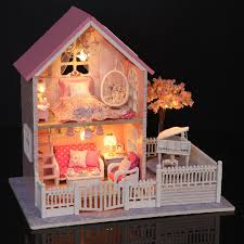 miniature wooden dollhouse furniture. Diy Doll House Furniture Miniature Wooden Dollhouse Sets Pink For Girls New Year Birthday Y