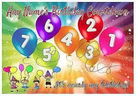 Personalised Birthday Countdown Calendar Chart Comes