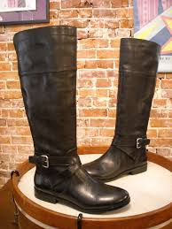 details about marc fisher anlosa black leather wide calf riding boots 6 new
