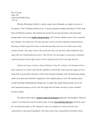 classroom profile essay kristi youngeduc 205classroom profile essay12 7 10 whitney elementary school is a pretty rough
