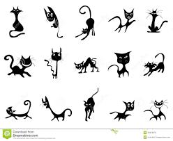 Silhouettes De Chat Noir De Dessin Anim Illustration De Vecteur