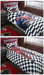 quilts boys bed quilt black white checd race car bedding twin or full duvet cover