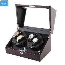 automatic watch winder diy wrist mahogany leather accessories box for case lock storage movement boxes winders