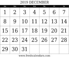 December Calendar Blank Blank December 2019 Calendar Printable Templates