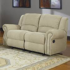 Double Rocker Recliner Loveseat Khaky Canvas Fabric Upholstered Loveseat With Reclining And Panel