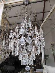 antique vnt french big cage style crystal chandelier 1940 s 15in Ø diamter
