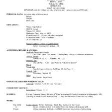 College Resume Format New Sample High School Resume For College Admission New College