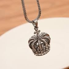 retro full diamond crown necklace