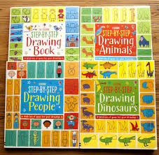 4 books set 21x25cm usborne step by step drawing book english colour painting