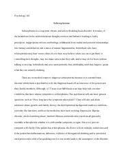 schizophrenia study resources 6 pages schizophrenia psych paper