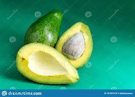 Avocado Light Avocado On A Light Green Background To Eat Stock Photo