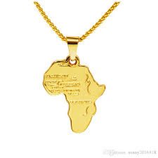 whole rock hippie small african map pendant necklace 18k real gold plated chain long necklaces party jewelry mens gifts silver pendant necklaces ruby