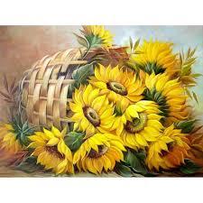 sunflower basket easy 5d diy diamond painting kits owlcube canvas wall art owlcube on diy sunflower wall art with sunflower basket easy diy diamond painting kits