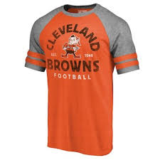 Men's Diamond Majestic Iconic Cleveland Retro Scroll Orange Browns T-shirt
