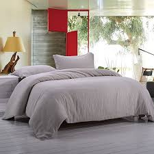 simple once 100 linen stone washed 3pcs basic style solid duvet cover set king linen
