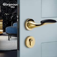 gorgeous new zinc alloy door lock gold color bedroom silent safty door lock black door handles