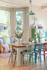 colorful mix and match dining chairs