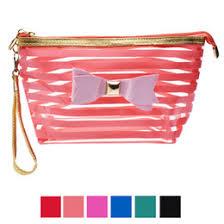 whole new transpa women makeup bag make up storage organizer box beauty case travel pouch bowknot stripe cosmetic bag hot uk
