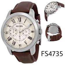 fossil grant chronograph brown leather mens watch fs4735
