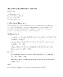 Summary Of Skills Resume Beauteous Housekeeping Summary For Resume Private Housekeeper Samples Examples