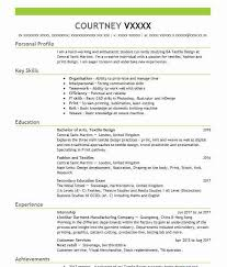 Cv Pattern 164 Textile And Apparel Cv Examples Templates Livecareer