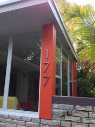 modern mailbox dwell. Modern House Numbers On Orange Post Mailbox Dwell B