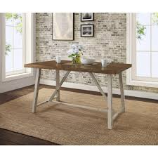 better homes gardens collin wood and metal dining table comfortably seats 4 distressed white table base and brown top com