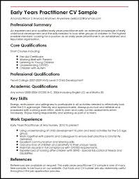 How To Write A Cover Letter For Early Childhood Education Early Years Practitioner Cv Sample Myperfectcv