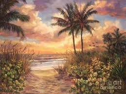 beach painting fort myers sunset by laurie hein