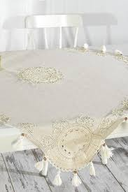 natural linen table cloth with