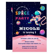 Space Party Invitation Earth Outer Space Party Astronaut Galaxy Birthday Invitation