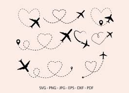 Download 7 airplane svg stock illustrations, vectors & clipart for free or amazingly low rates! Airplane Heart Route Airplane Clipart Graphic By Redcreations Creative Fabrica