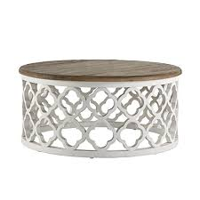 signal hills vince reclaimed wood moroccan trellis drum coffee table drum coffee table o79
