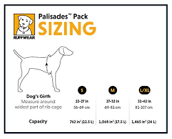 Ruffwear Harness Size Chart Ruffwear Palisades Dog Backpack And Harness For Hiking And Camping 2 Detachable Saddlebags 2 Collapsible Hydration Bladders 1 Liter Each