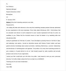 Sample Cover Letter For Entry Level Sample Entry Level Marketing Cover Letter 7 Free Documents