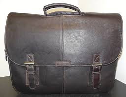 samsonite colombian leather flapover briefcase brown brand new
