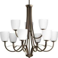 merge collection 9 light antique bronze chandelier with opal glass shade