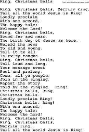 Catholic Hymns, Song: Ring, Christmas Bells - lyrics and PDF