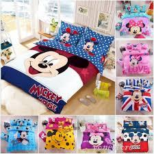 details about cartoon mickey mouse minnie bedding set duvet cover sheet pillowcase bed sheet