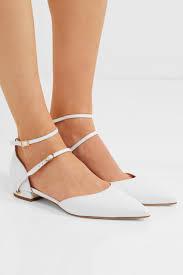 jennifer chamandi womens enrico patent leather point toe flats white white flat shoes