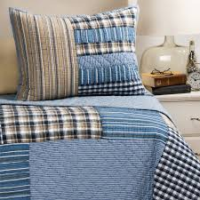 Rizzy Home Denim Patchwork Plaid Quilt Set - Twin - Save 30% & Rizzy Home Denim Patchwork Plaid Quilt Set - Twin in Blue ... Adamdwight.com
