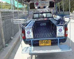 Taxi. Pick-up truck with bench seats - Picture of Bangkok, Thailand ...