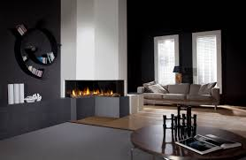 Decorations:Faboulus Modern Corner Fireplace Designs With Circular Black  Wall Sheleves Also Brown Wooden Table
