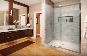 frameless heavy glass enclosures are a huge design trend because they give a bathroom that